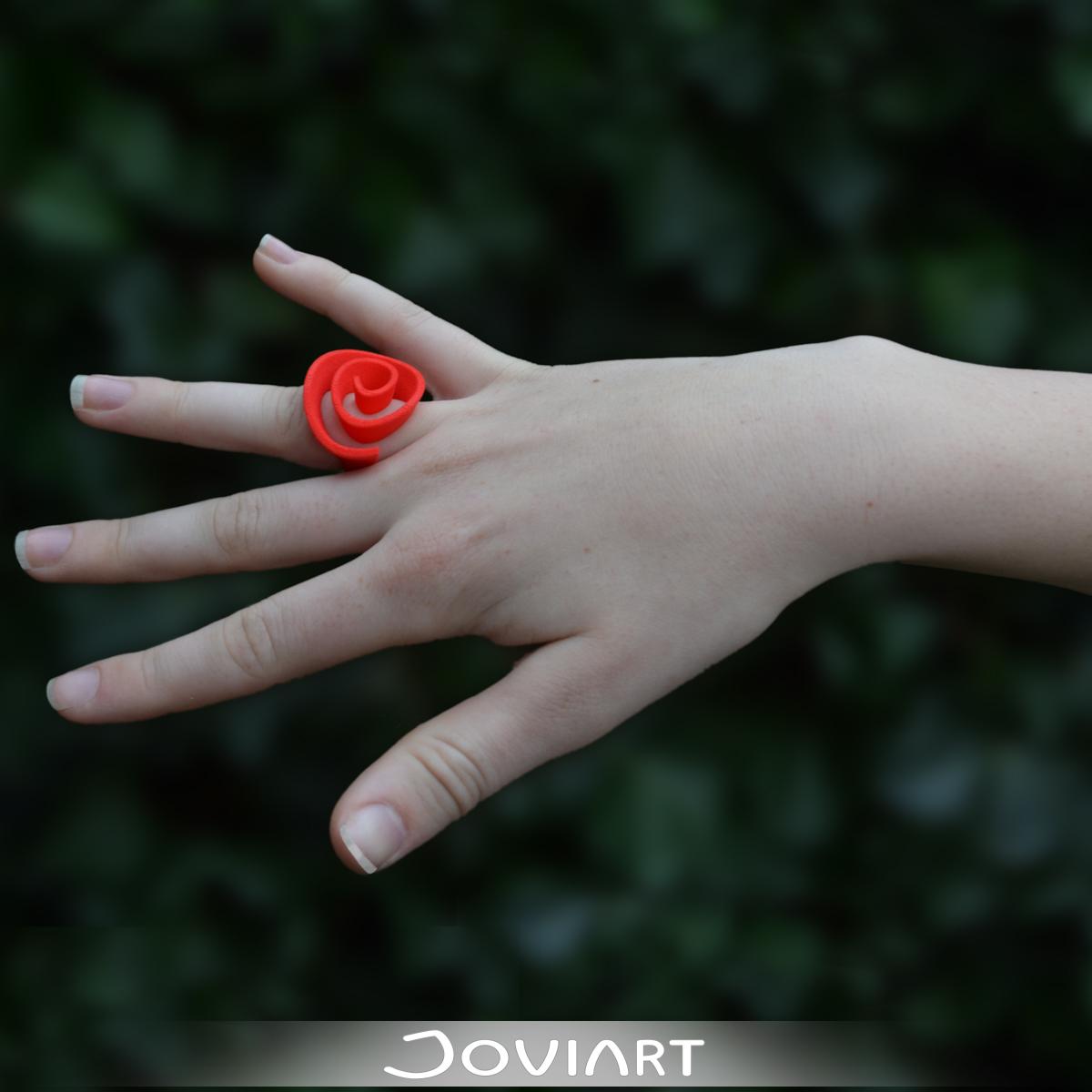 3D geprinte ring roos gestileerd curly rose ring